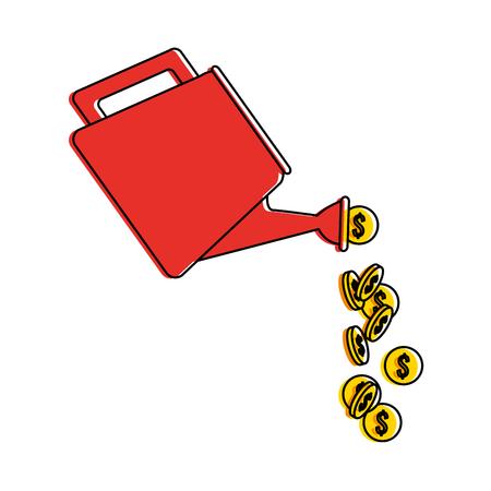 sproeier met vector de illustratieontwerp van het muntstukkenpictogram