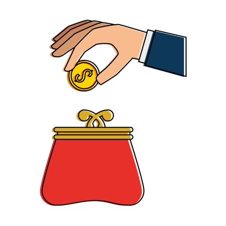 paying: hand with female wallet vector illustration design Illustration