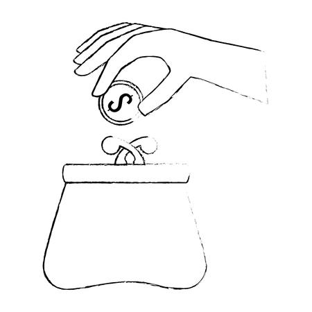 hand with female wallet vector illustration design Reklamní fotografie - 88839202