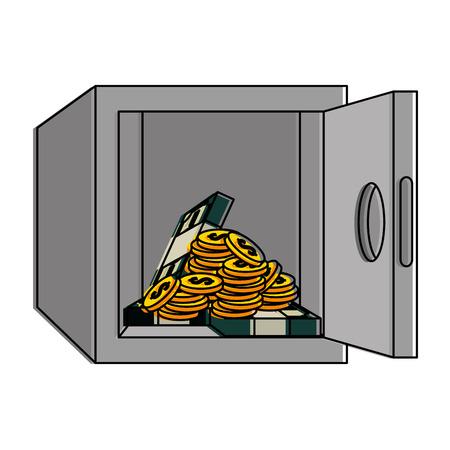 safe box with money vector illustration design