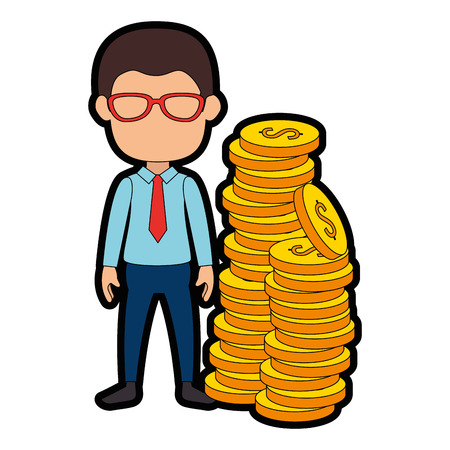 businessman with coins avatar character icon vector illustration design