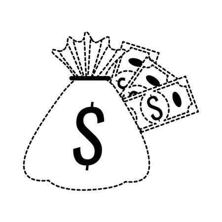 money bag with bills icon vector illustration design Ilustração