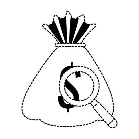 money bag with magnifying glass vector illustration design