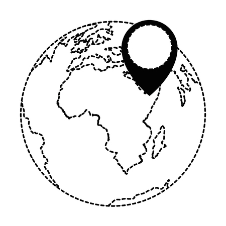 world planet earth with pointer vector illustration design