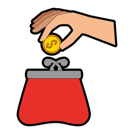 hand with female wallet vector illustration design Ilustração