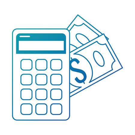 calculator device with money vector illustration design