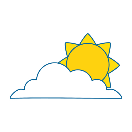 overcast: cloud silhouette with sun vector illustration design