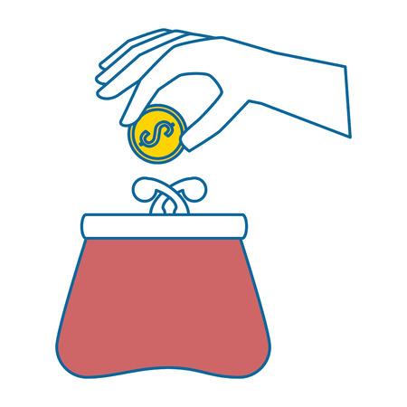 mano con diseño de ilustración de vector de cartera femenina Ilustración de vector