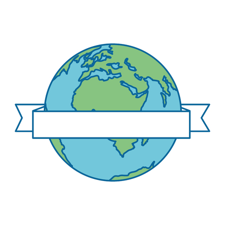 world planet earth with ribbon vector illustration design