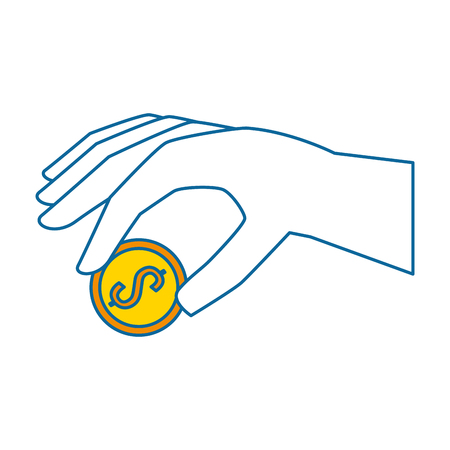 hand with coin icon vector illustration design Illustration