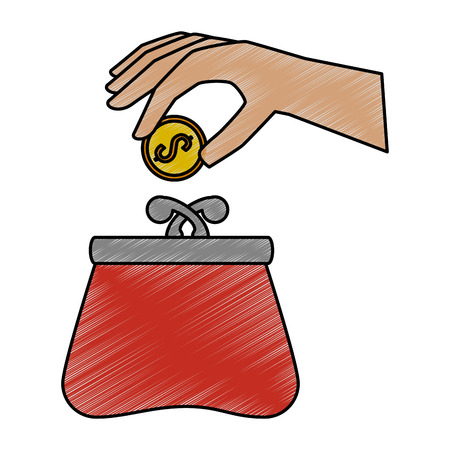 hand with female wallet vector illustration design Ilustrace