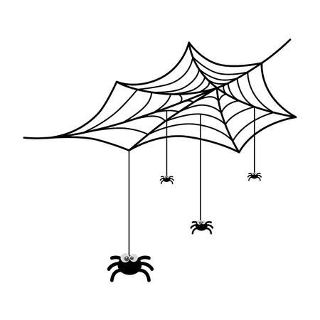 cute spiders with spiderweb halloween decoration vector illustration design