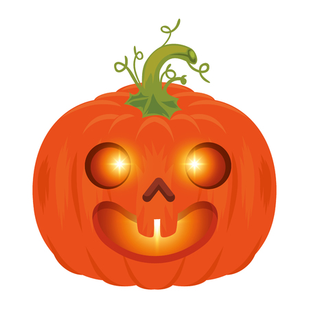 pompoen halloween decoratieve pictogram vector illustratie ontwerp