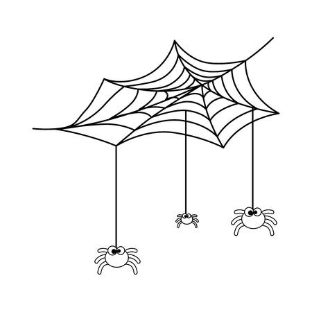 Niedliche Spinnen mit Spinnennetz Halloween Dekoration Vektor Illustration Design Standard-Bild - 88888719