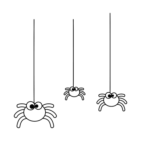 cute spiders hanging halloween decoration vector illustration design Иллюстрация