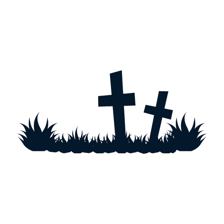diseño del ejemplo del vector del icono de la escena del cementerio aislado