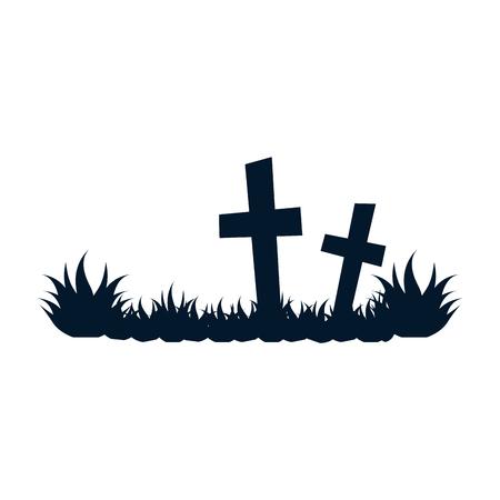 pictogram van de het pictogram vectorillustratie van het begraafplaats het scène geïsoleerde