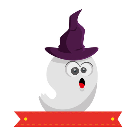 ghost house: ghost with witch hat character vector illustration design Illustration