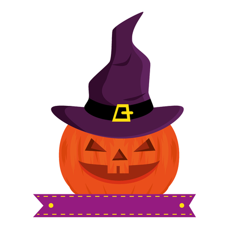 pumpkin hallooween with hat witch decorative icon vector illustration design