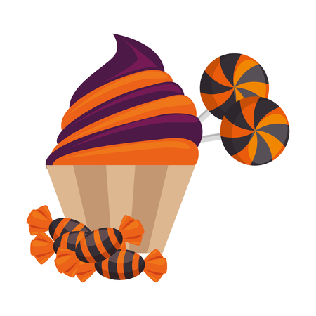 sweet candies and cupcake halloween icon vector illustration design