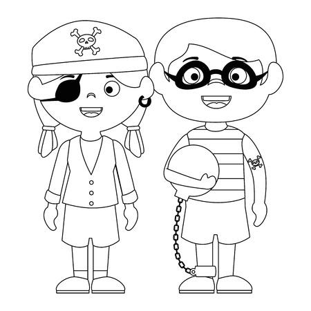 little kids disguised as a pirate and prisoner vector illustration design Illustration