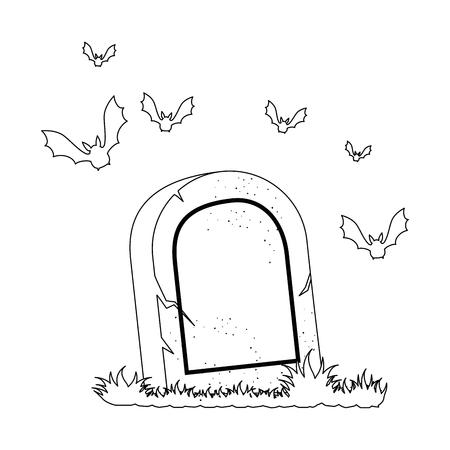 tomba dei morti con vampiri che volano disegno vettoriale illustrazione Vettoriali