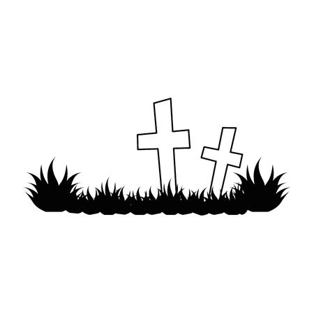 墓地のシーンのアイコン ベクトル イラスト デザインを分離しました。