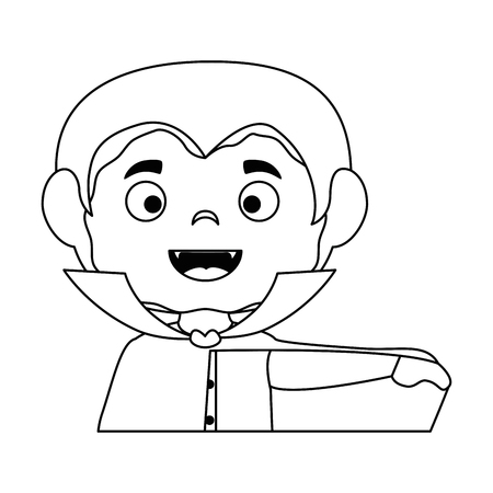 little boy disguised as a dracula vector illustration design