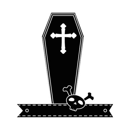 Cercueil halloween avec crâne icône décorative vector illustration design Banque d'images - 88889155