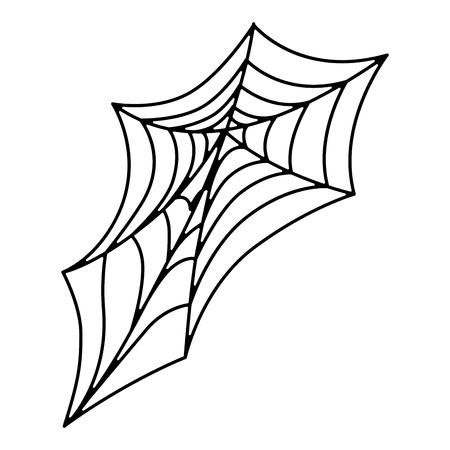 Teia de aranha dia das bruxas decorativas ícone vector ilustração design Foto de archivo - 88887837