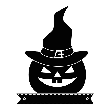 pumpkin halloween with hat witch decorative icon vector illustration design