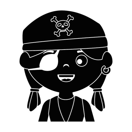 little kid disguised as a pirate vector illustration design