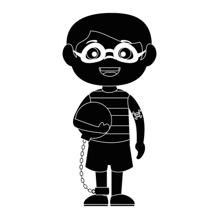 little boy disguised as a prisoner vector illustration design