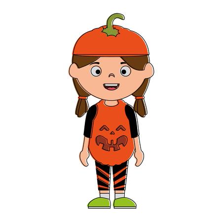 little girl disguised as a pumpkin vector illustration design Illustration
