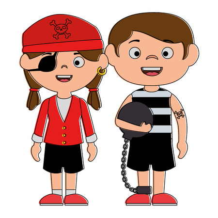 little kids disguised as a pirate and prisoner vector illustration design Illustration