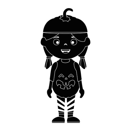 little girl disguised as a pumpkin vector illustration design Illustration