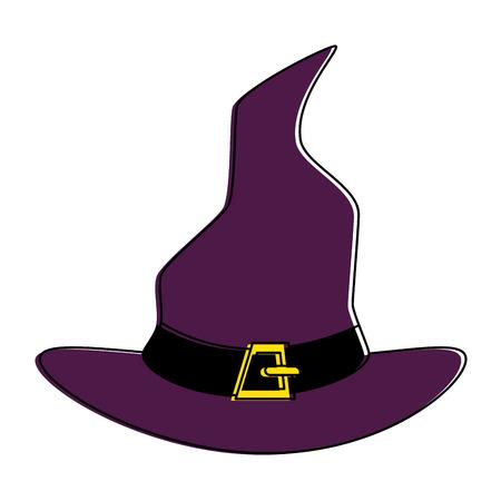 Diseño de ilustración de vector de icono de sombrero de bruja aislado Foto de archivo - 88889275