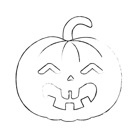 pumpkin hallooween decorative icon vector illustration design Stock Vector - 88889315