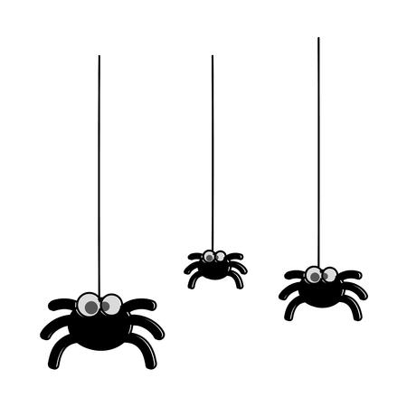 Niedliche Spinnen hängen Halloween Dekoration Vektor Illustration design Standard-Bild - 88889281
