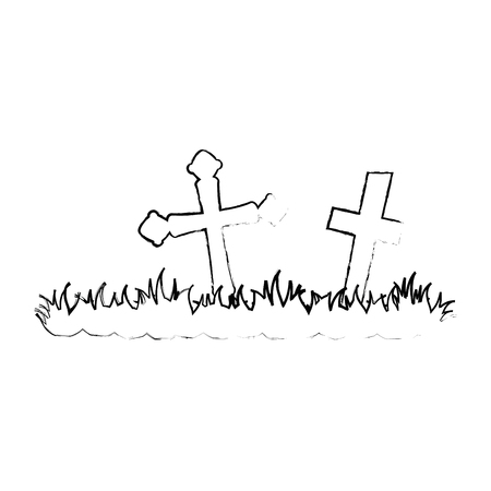 cemetery scene isolated icon vector illustration design