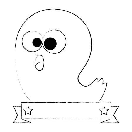 funny ghost halloween character vector illustration design