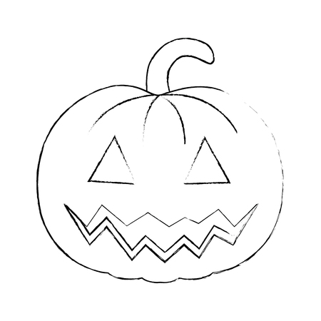 pumpkin halloween decorative icon vector illustration design Stock Vector - 88889337