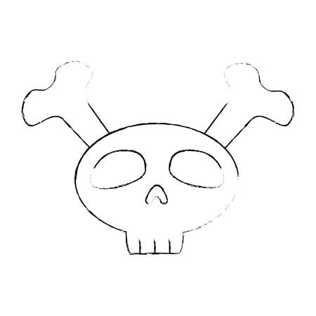 funny skull with bones crossed vector illustration design