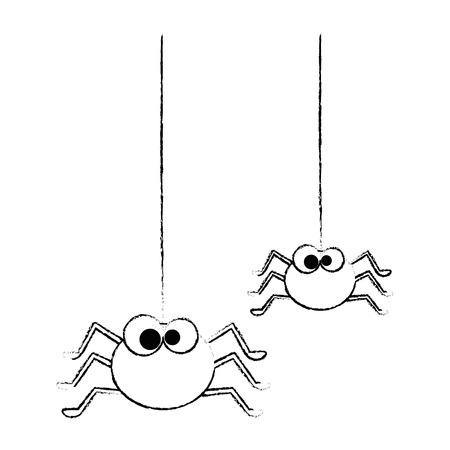 cute spiders hanging halloween decoration vector illustration design Illustration