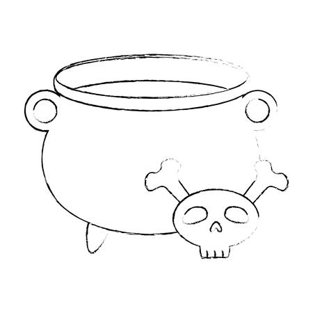 witch boiler with skull vector illustration design