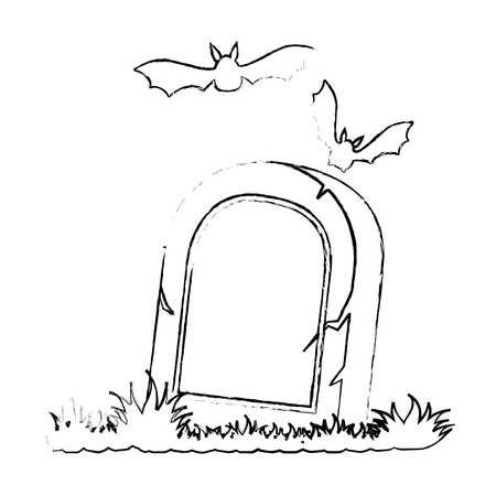 grave of dead with vampires flying vector illustration design
