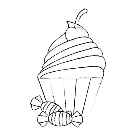 달콤한 사탕과 먹고 할로윈 아이콘 벡터 일러스트 디자인