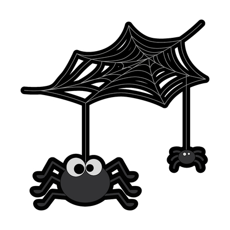 cute spiders with spiderweb halloween decoration vector illustration design Stok Fotoğraf - 88893658