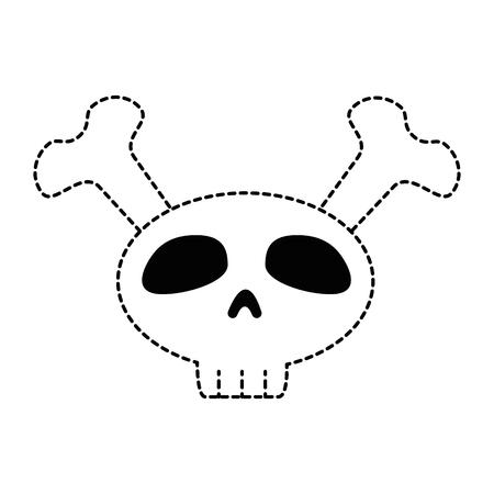 skull and crossed bones: funny skull with bones crossed vector illustration design