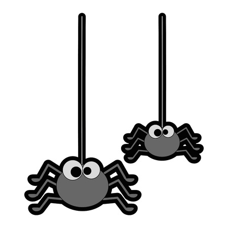 cute spiders hanging halloween decoration vector illustration design 向量圖像